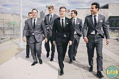 J in black pants & vest, white shirt & black bow tie, black buttons & black suspenders - Groomsmen in grey pants & vest - light blue bow tie & suspenders