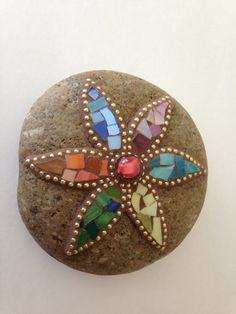 Mosaic Flower Rock Paperweight Garden Stone by PalsCreations