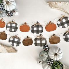 Farmhouse wooden pumpkin garland Fall decoration, gingham, home decor, mantel Affiliate link Fall Banner, Fall Garland, Diy Garland, Wooden Pumpkins, Fall Pumpkins, Wooden Pumpkin Crafts, Farmhouse Fall Wreath, Fall Plaid, Fall Projects