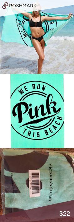 VICTORIAS SECRET Pink Towel VS Lime Aqua Tie Dye Huge Logo NIP Swim Beach