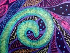 Teacher sample of Koru Spiral Plant art lesson - another great koru lesson! Classe D'art, New Zealand Art, 6th Grade Art, Nz Art, Ecole Art, Maori Art, Teaching Art, Teaching Resources, Teaching Ideas
