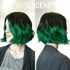 blunt bob with green