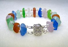 Sea Glass Bracelet with Genuine Beach Glass Handmade Sea Glass Jewelry Gift for Her Gift Ideas Bracelets Canada on Handmade Artists' Shop