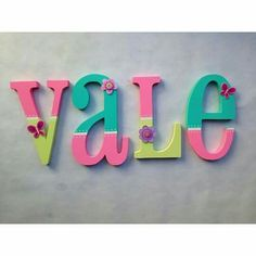 Baby Letters, Monogram Letters, Nursery Letters, Letter A Crafts, Frame Crafts, Painted Letters, Wood Letters Decorated, Art Wall Kids, Diy Painting