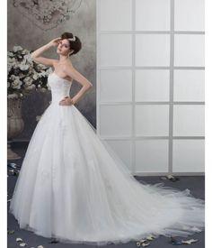 Organza Beading Applique Chapel Empire Wedding Dress