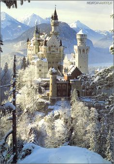 Neuschwanstein Castle. German: Schloss Neuschwanstein, is a 19th-century Romanesque Revival palace on a rugged hill above the village of Hohenschwangau near Füssen in southwest Bavaria, Germany.
