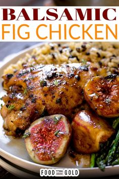 This balsamic fig chicken recipe is a flavorful way to enjoy an early autumn dinner. Made with fresh figs and a quality balsamic vinegar, its deep flavors are extremely delicious. This balsamic fig chicken recipe is a simple way to add extra fruit to your day. The sweetness of the figs balances with the tang of the balsamic vinegar and makes a perfect combination. | @foodabovegold #figrecipes #roastedchicken #fallrecipe #dinnerparty Healthy Meat Recipes, Fig Recipes, Dinner Recipes, Dinner Ideas, Dinner Dishes, Family Recipes, Healthy Chicken, Turkey Recipes, Kitchens
