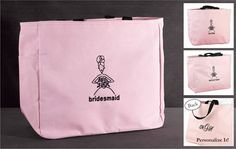 Bridesmaids tote bag gifts. Bridesmaids will love carrying all their wedding necessities in these pink totes embroidered with stylish designs and wedding party titles in black thread