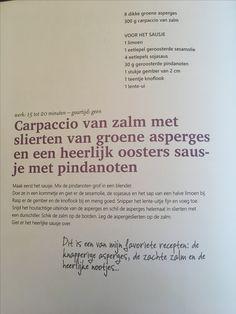 Zalmcarpaccio met pindanoten saus