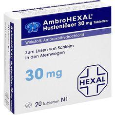 AMBROHEXAL Hustenlöser 30 mg Tabletten:   Packungsinhalt: 20 St Tabletten PZN: 03692145 Hersteller: Hexal AG Preis: 2,13 EUR inkl. 19 %…