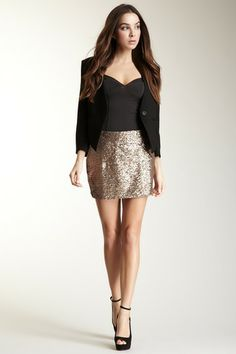 Sequin Skirt, black camisole and black blazer for a well put together going-out look.