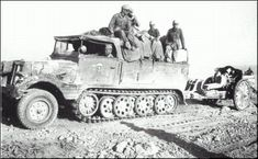 "A halftrack towing a gun The (leichte FeldHaubitze ""light field howitzer"") was the standard . Erwin Rommel, Muzzle Velocity, Afrika Korps, Steel Wheels, Horse Drawn, German Army, Throughout The World, North Africa, World War Ii"