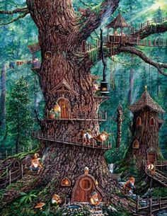 Jigsaw puzzle Fantasy Forest Gnomes 1000 piece NEW Made in USA by SunsOut