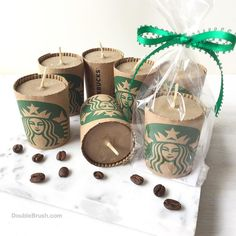 NEW! Starbucks coffee scented candles for coffee themed party favors! Our extra…