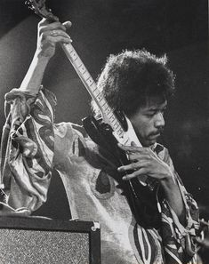 "Jimi Hendrix. ""He played just about every style you could think of, and not in a flashy way. I mean he did a few of his tricks, like playing with his teeth and behind his back, but it wasn't in an upstaging sense at all, and that was it... He walked off, and my life was never the same again."" -Eric Clapton"