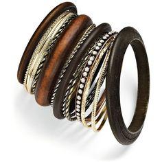 Bar Iii Bracelets Set, Gold Tone And Wood Bangles Set ($19) ❤ liked on Polyvore