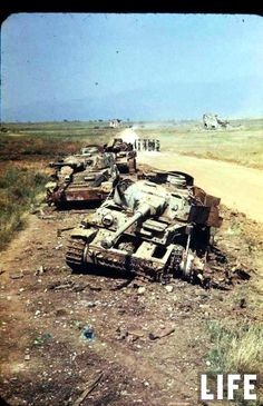 Destroyed German Panzer IV tanks at Lanuvio, Italy