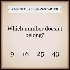 Math Talk starter - could use this so many ways. Students could prove why a number doesn't belong.