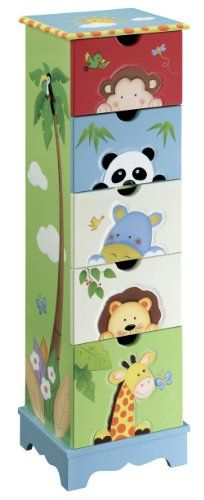 Buy Teamson 5 Drawer cabinet - Sunny Safari Room Collection at Wish - Shopping Made Fun Safari Room, Safari Nursery, Nursery Themes, Nursery Decor, Nursery Storage, Painted Chairs, Hand Painted Furniture, Funky Furniture, Baby Furniture