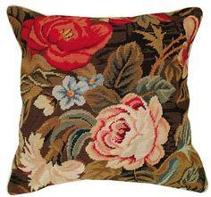 All Over Ophelia Needlepoint Pillow buy at Snugglebug Pillows and Throws www.snugglebugpillowsandthrows.com