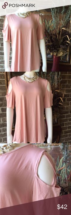 55593fdffe NWT SO SOFT NWT rose colored open shoulders so soft and silky top. So comfy