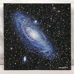 "Andromeda Galaxy Acrylic on 12"" x 12"" canvas"