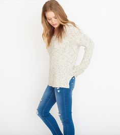 Slouchy V-Neck Sweater Dressy Outfits, Outfits For Teens, Fall Outfits, Cute Outfits, Garage Clothing, Shoe Boots, Pullover, Style Inspiration, My Style