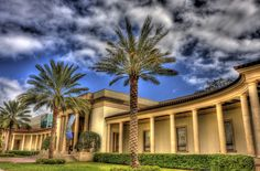 Museum of Fine Arts in St Pete, Florida. Its made of magnificent stone and has many columns and Palm trees