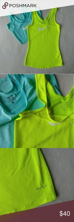 """NIKE PRO Dri-fit Tank Set 🔸Can be sold separately $20 ea🔸  Material: 84% polyester 16% spandex Condition: Pristine Armpit to armpit: 13"""" Armpit to hem: 16"""" Color: Neon Yellow, Light Blue   ⚫NOTE⚫ Both tops are the same size & measurements. Fitted fitness/running NIKE tops! In Stellar pristine condition - NO stains, rips, or holes. Nike Tops Tank Tops"""