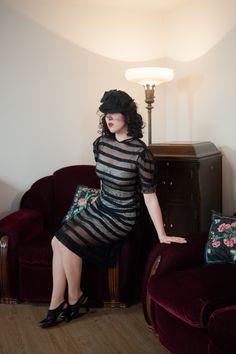 Vintage 1930s Dress Late 30s Femme Fatale Ultra Sheer by FabGabs