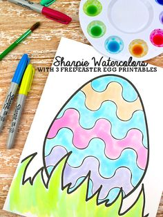 Make Your Own Sharpie Watercolor Paints with 3 Free Easter Egg Coloring Pages #Easter #FreePrintable