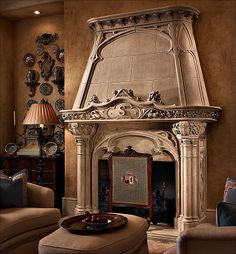 Cast iron fireplace in the French Italian Renaissance style with ...