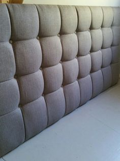 Grey square tufted upholstered headboard custom wall mounted
