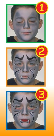 DRACULA face painting for kids make-up tip. To make this DRACULA FACE PAINTING for boy you need: brushspongewatermirrorface painting colors: grey, red, . Pregnant Halloween Costumes, Fete Halloween, Scary Halloween, Halloween Make Up, Halloween Crafts, Dracula Face Paint, Vampire Face Paint, Face Painting For Boys, Face Painting Designs