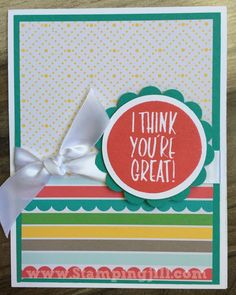 I Think You're Great Stampingjill.com Stampin' Up! Cherry On Top DSP Stack