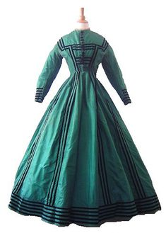 Emerald Green Silk Afternoon Gown with Jacket, 1860's | In the Swan's Shadow