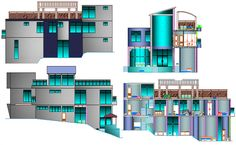 Beach house elevation and sectional view details dwg file Autocad, Open House Plans, Construction, House Elevation, Architecture Plan, Entry Doors, Wall Design, Living Area, Luxury Homes
