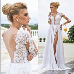 V-Back Side Slit Cheap White Long Sleeve Sexy Evening Long Prom Dress, Cheap Wedding Dress, PD0152