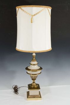 Hollywood Regency Style Pair Of Brass Cream Colored Stiffel Table Lamps I Love LampModern