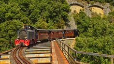 You would like to discover the natural beauty of Pelion? The Moutzouris train has its four wagons ready for a 90 minutes ride from Lechonia to Milies and back, with one 15 minute stop in Gatzea. This historic train, which started operating at the. Train Route, By Train, Mountain Village, Train Journey, Seaside Towns, Athens Greece, Train Travel, Stunning View, Beautiful