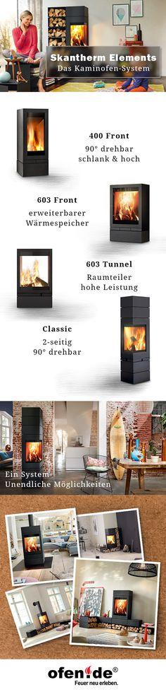 Skantherm Elements ist ein leicht zu verstehendes Kaminofen System. Damit kannst Du Deine eigene Feuerlandschaft bauen. Alle Brennkammern im Überblick