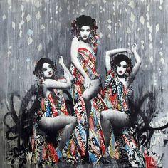 Gueishas - As criações do artista de rua HUSH, misturando técnicas de colagem, grafite, estêncil, pintura e desenho (Geaatelier)