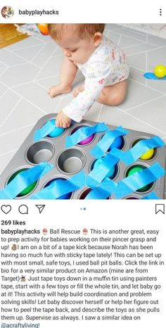 # infant activities Ball Rescue daycare crafts for toddlers Activities For 1 Year Olds, Toddler Learning Activities, Montessori Activities, Infant Activities, Montessori Toddler, Learning Games, Infant Games, Kids Learning, Indoor Activities For Toddlers
