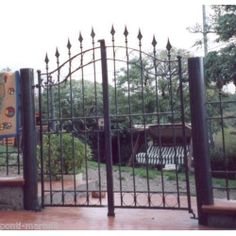 Wrought Iron Pedestrian Gate. Customize Realisations. 067 Pedestrian, Wrought Iron, Gate, Doors, Fences, Amazon, Home Decor, Picket Fences, Amazons