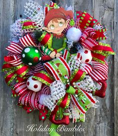 A personal favorite from my Etsy shop https://www.etsy.com/listing/565595058/elf-wreath-whimsical-elf-wreath
