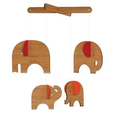 wooden elephant mobile