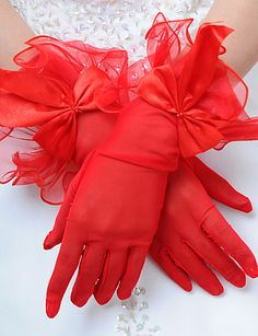 Delicate Red Satin/Tulle Fingertips Wrist Length Wedding Gloves   Mom would have loved these!