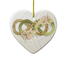 Double Infinity Gold & Pink Cowlilies-White Heart #doubleinfinity #gold #cowlily #flower #love #valintinesday #bride #bridesmaid #pink