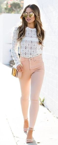#summer #outfits White Eyelet Top + Pink Skinny Jeans