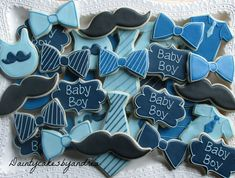 """dozen little man baby shower decorated sugar cookies! dozen little man baby shower decorated sugar cookies! - """"Ready to Pop"""" popcorn favours for baby showers. Baby Shower Sweets, Baby Shower Cookies, Baby Shower Themes, Baby Shower Decorations, Shower Ideas, Pop Baby Showers, Baby Boy Shower, Baby Shower Gifts, Bow Tie Cookies"""